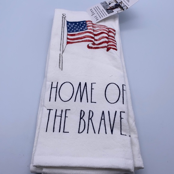 Rae Dunn HOME OF THE BRAVE Kitchen Towels